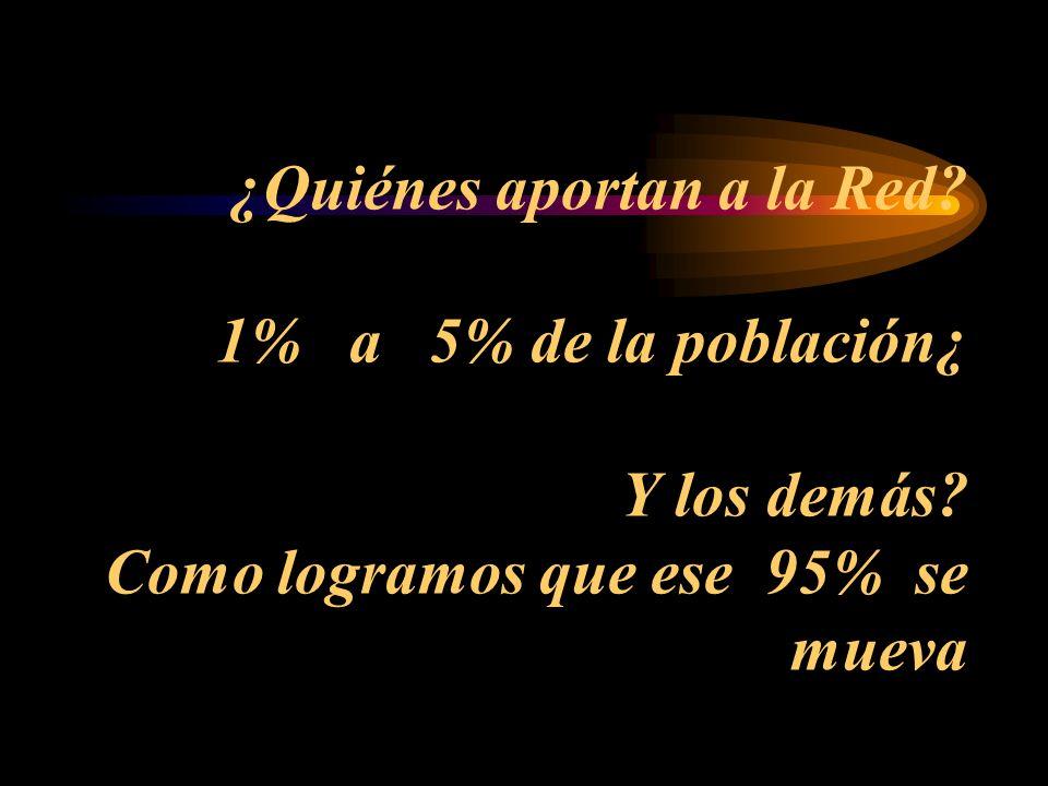 ¿Quiénes aportan a la Red 1% a 5% de la población¿ Y los demás Como logramos que ese 95% se mueva