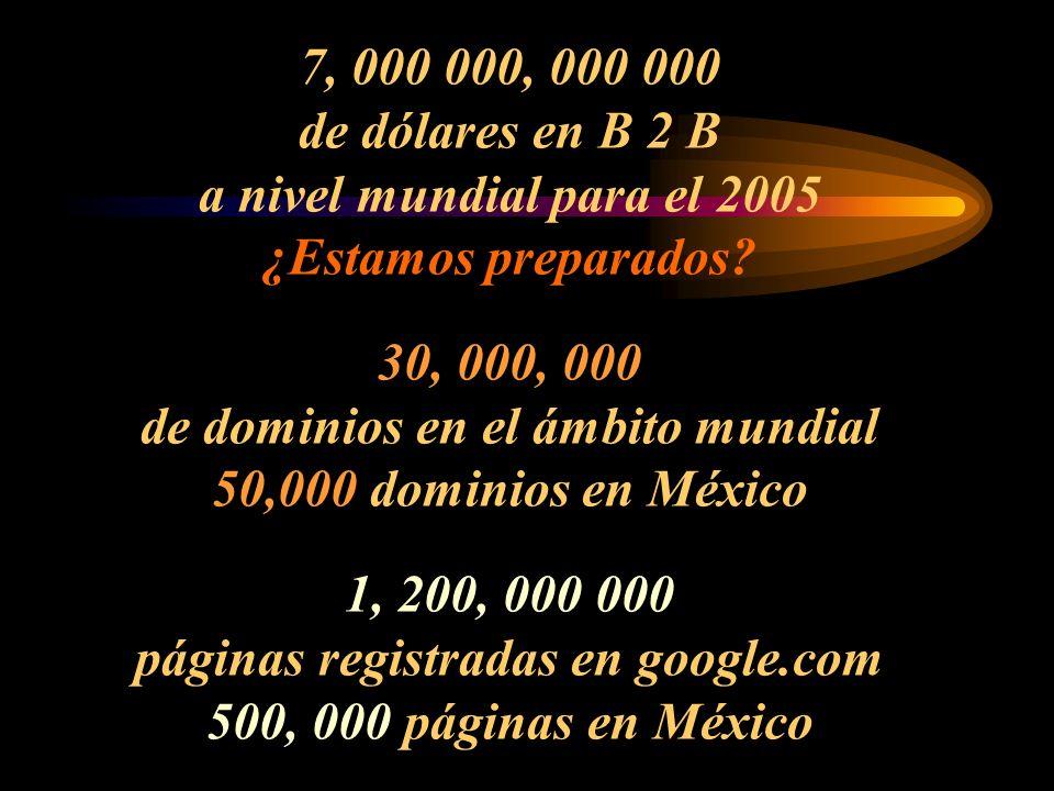 7, 000 000, 000 000 de dólares en B 2 B a nivel mundial para el 2005 ¿Estamos preparados.