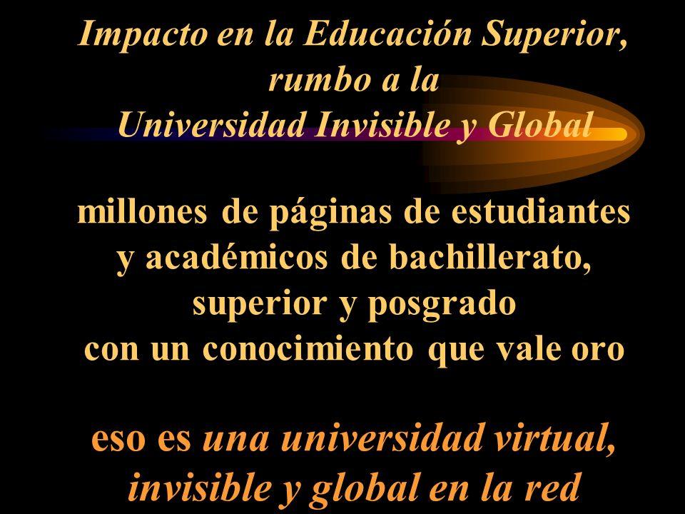 Impacto en la Educación Superior, rumbo a la Universidad Invisible y Global millones de páginas de estudiantes y académicos de bachillerato, superior