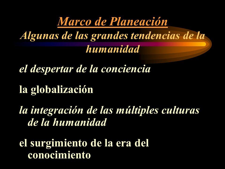Marco de Planeación Algunas de las grandes tendencias de la humanidad el despertar de la conciencia la globalización la integración de las múltiples culturas de la humanidad el surgimiento de la era del conocimiento