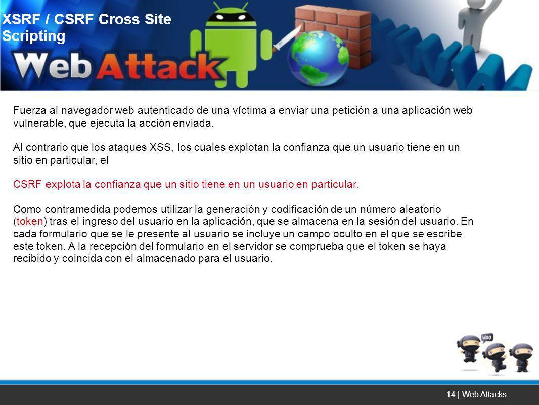 14 | Web Attacks Fuerza al navegador web autenticado de una víctima a enviar una petición a una aplicación web vulnerable, que ejecuta la acción envia