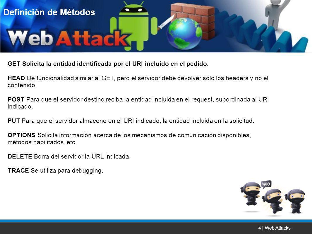 4 | Web Attacks GET Solicita la entidad identificada por el URI incluido en el pedido. HEAD De funcionalidad similar al GET, pero el servidor debe dev