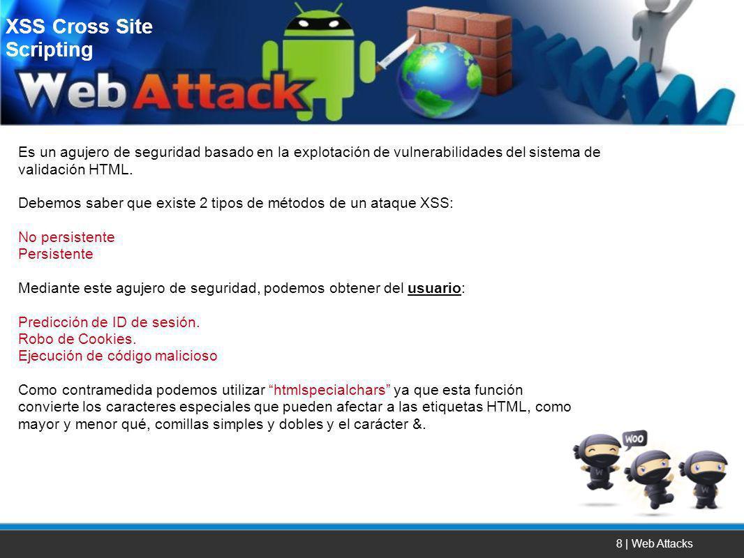 8 | Web Attacks Es un agujero de seguridad basado en la explotación de vulnerabilidades del sistema de validación HTML. Debemos saber que existe 2 tip