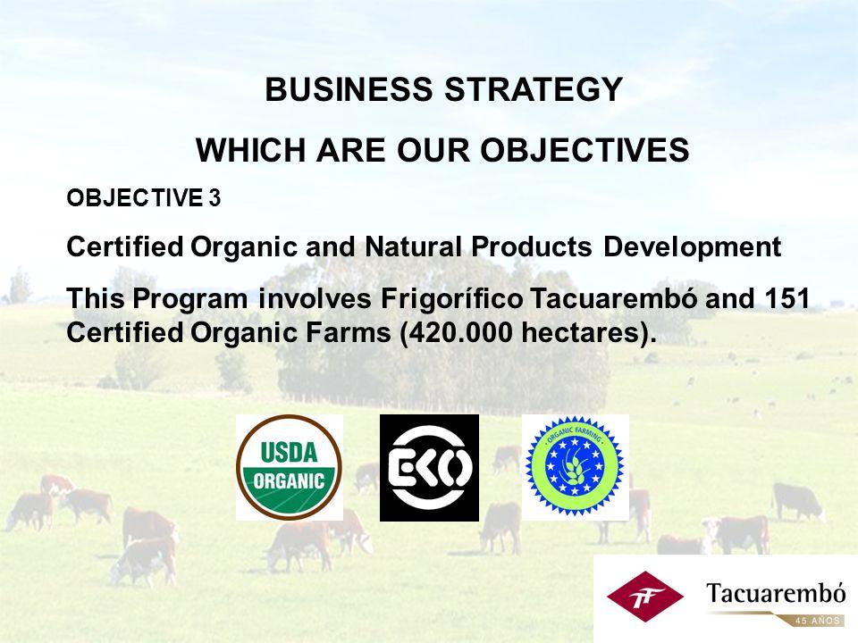 Estrategia Comercial: - Objetivos Objetivo 2: Aumentar la participación de productos de valor agregado en el mix de la oferta exportable: alianzas estratégicas aportando nuevos mercados inversión en: - investigación y desarrollo en productos/mercados - consolidación de nuestras marcas - tecnología de primera línea.