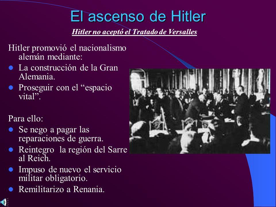 El ascenso de Hitler Hitler promovió el nacionalismo alemán mediante: La construcción de la Gran Alemania. Proseguir con el espacio vital. Para ello: