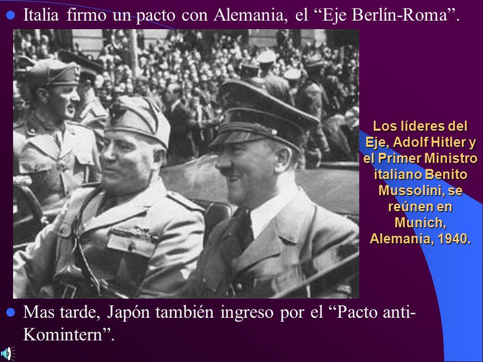 Los líderes del Eje, Adolf Hitler y el Primer Ministro italiano Benito Mussolini, se reúnen en Munich, Alemania, 1940. Italia firmo un pacto con Alema