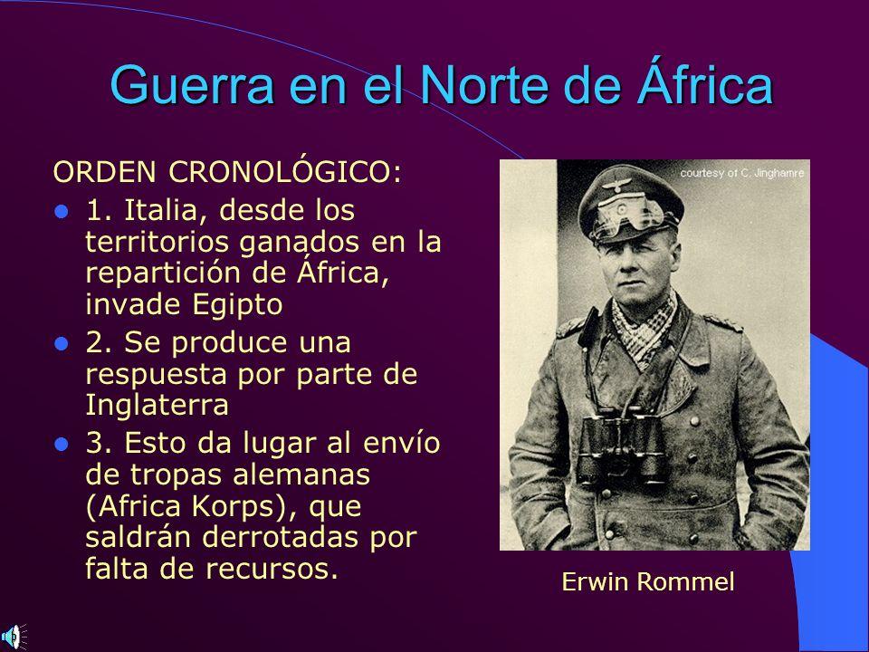 Guerra en el Norte de África ORDEN CRONOLÓGICO: 1. Italia, desde los territorios ganados en la repartición de África, invade Egipto 2. Se produce una