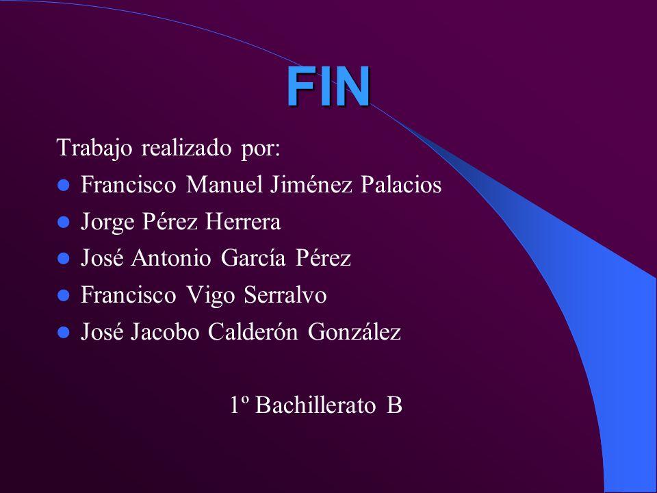 FIN Trabajo realizado por: Francisco Manuel Jiménez Palacios Jorge Pérez Herrera José Antonio García Pérez Francisco Vigo Serralvo José Jacobo Calderó