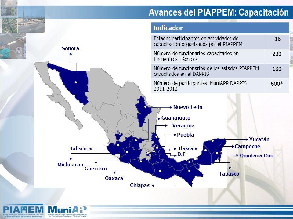 Avances del PIAPPEM: Capacitación Indicador Estados participantes en actividades de capacitación organizados por el PIAPPEM 16 Número de funcionarios