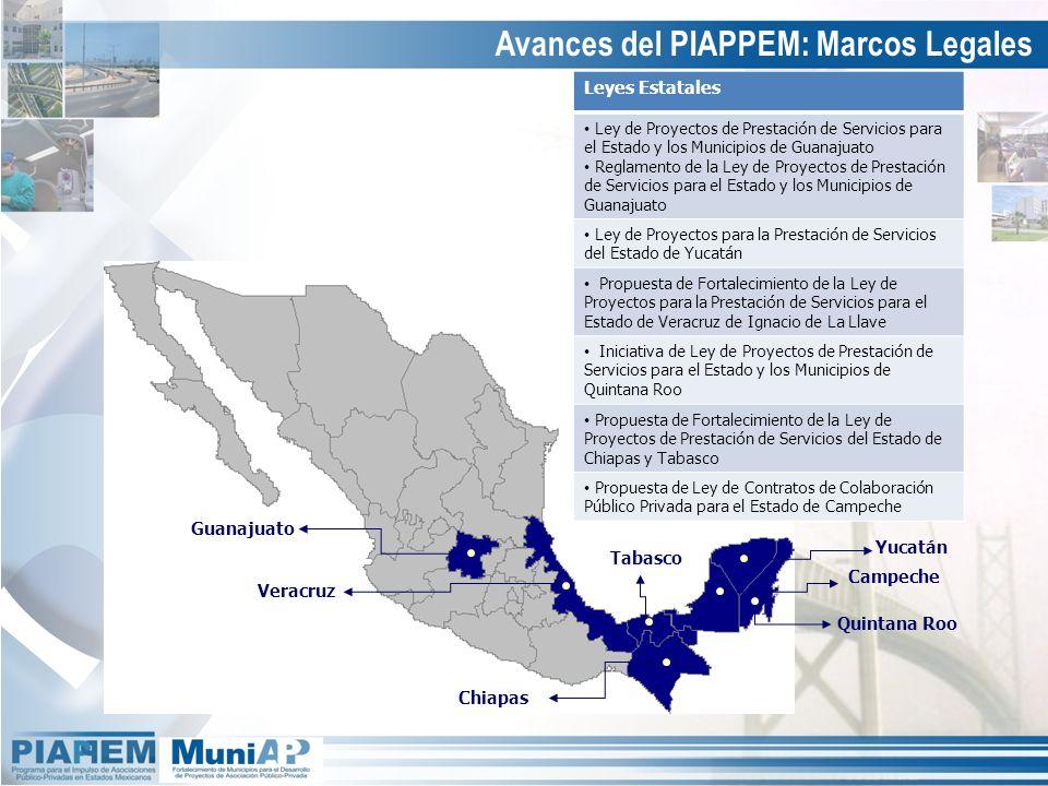 Avances del PIAPPEM: Marcos Legales Leyes Estatales Ley de Proyectos de Prestación de Servicios para el Estado y los Municipios de Guanajuato Reglamen