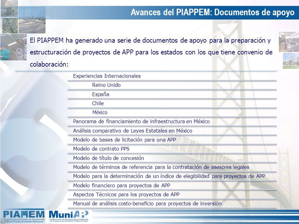 El PIAPPEM ha generado una serie de documentos de apoyo para la preparación y estructuración de proyectos de APP para los estados con los que tiene co