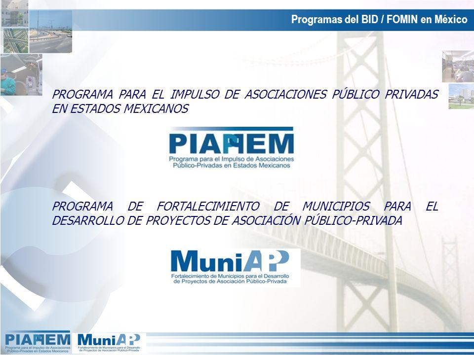 PROGRAMA PARA EL IMPULSO DE ASOCIACIONES PÚBLICO PRIVADAS EN ESTADOS MEXICANOS Programas del BID / FOMIN en México PROGRAMA DE FORTALECIMIENTO DE MUNI