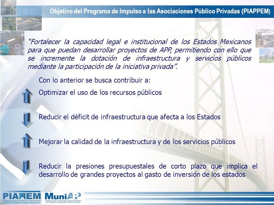 Fortalecer la capacidad legal e institucional de los Estados Mexicanos para que puedan desarrollar proyectos de APP, permitiendo con ello que se incre