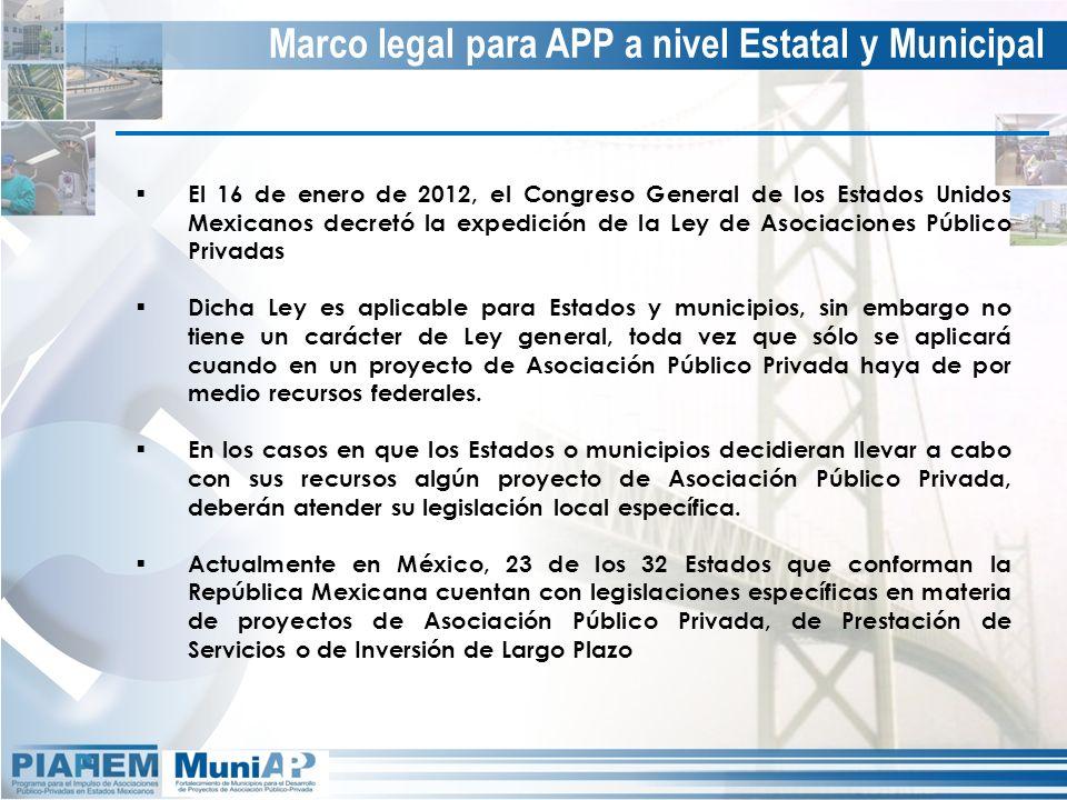 Marco legal para APP a nivel Estatal y Municipal El 16 de enero de 2012, el Congreso General de los Estados Unidos Mexicanos decretó la expedición de