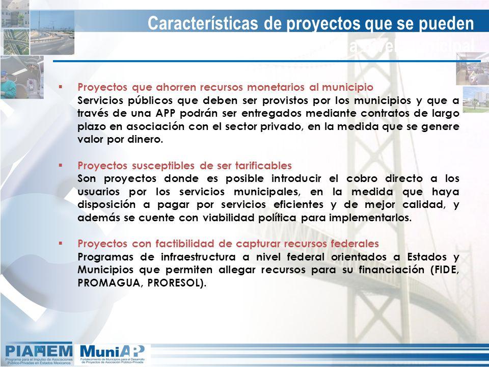 Características de proyectos que se pueden implementar a nivel municipal Proyectos que ahorren recursos monetarios al municipio Servicios públicos que