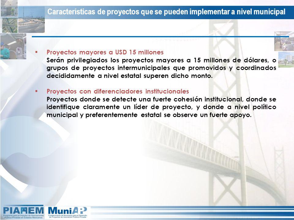 Proyectos mayores a USD 15 millones Serán privilegiados los proyectos mayores a 15 millones de dólares, o grupos de proyectos intermunicipales que pro