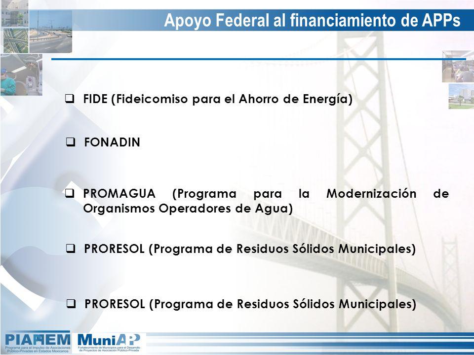 Apoyo Federal al financiamiento de APPs FIDE (Fideicomiso para el Ahorro de Energía) FONADIN PROMAGUA (Programa para la Modernización de Organismos Op