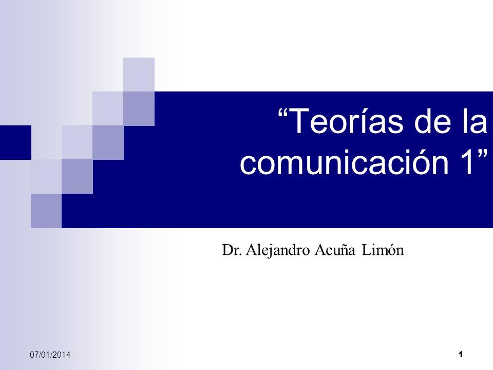 07/01/2014 1 Teorías de la comunicación 1 Dr. Alejandro Acuña Limón
