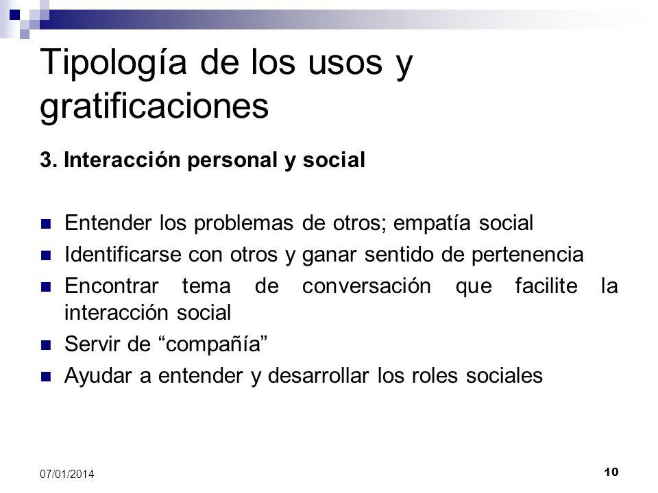 10 07/01/2014 Tipología de los usos y gratificaciones 3. Interacción personal y social Entender los problemas de otros; empatía social Identificarse c