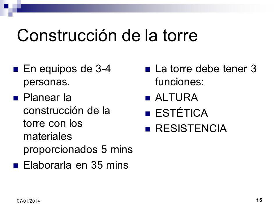 Construcción de la torre En equipos de 3-4 personas. Planear la construcción de la torre con los materiales proporcionados 5 mins Elaborarla en 35 min