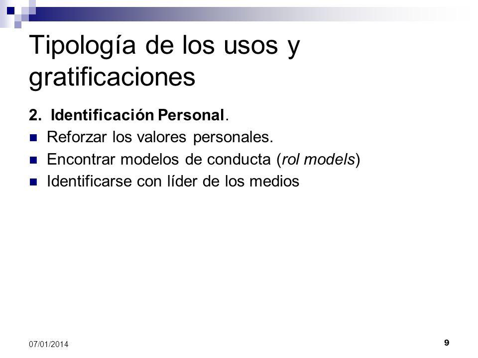 9 07/01/2014 Tipología de los usos y gratificaciones 2. Identificación Personal. Reforzar los valores personales. Encontrar modelos de conducta (rol m