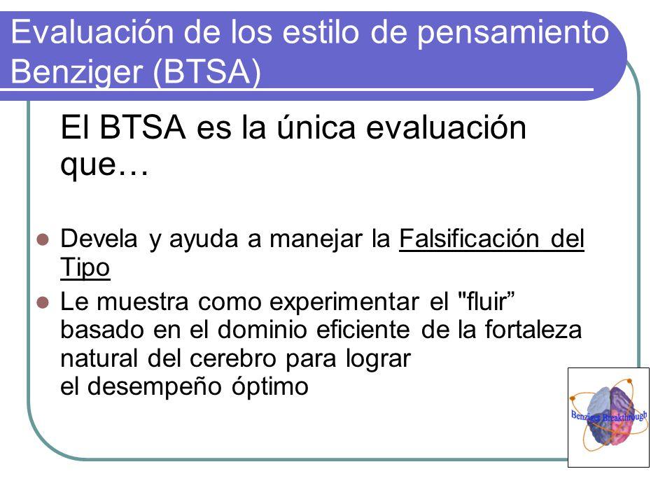 Evaluación de los estilo de pensamiento Benziger (BTSA) El BTSA es la única evaluación que… Devela y ayuda a manejar la Falsificación del Tipo Le mues