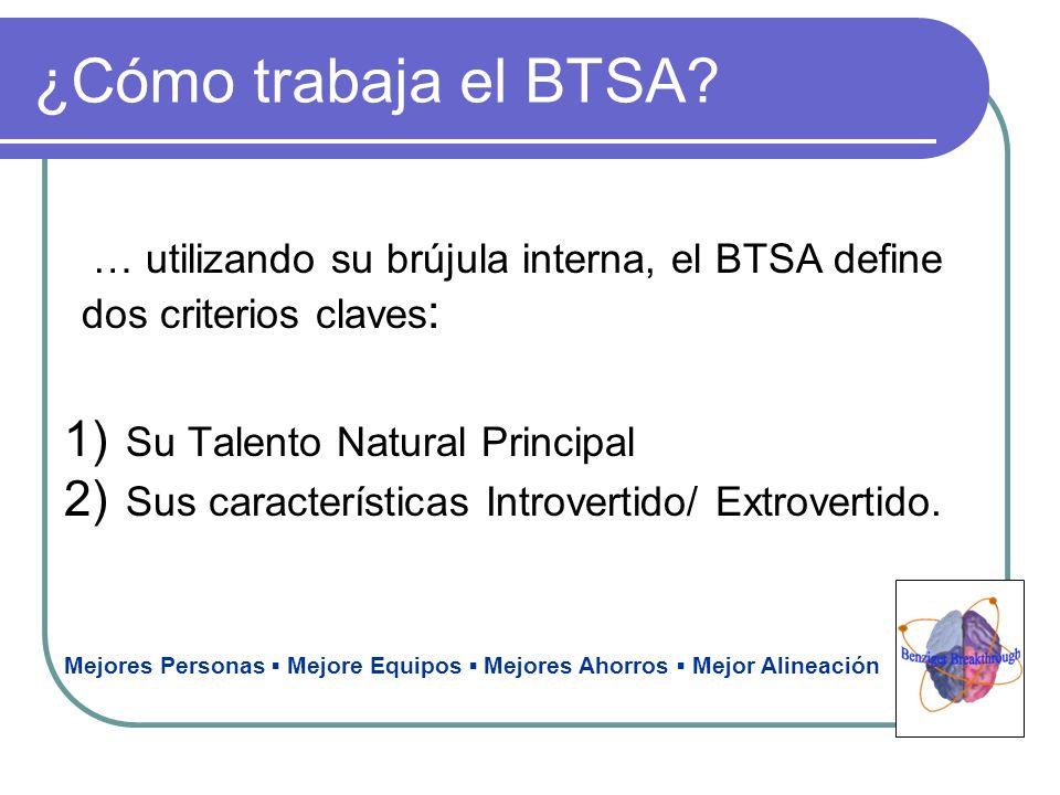 ¿Cómo trabaja el BTSA? … utilizando su brújula interna, el BTSA define dos criterios claves : 1) Su Talento Natural Principal 2) Sus características I