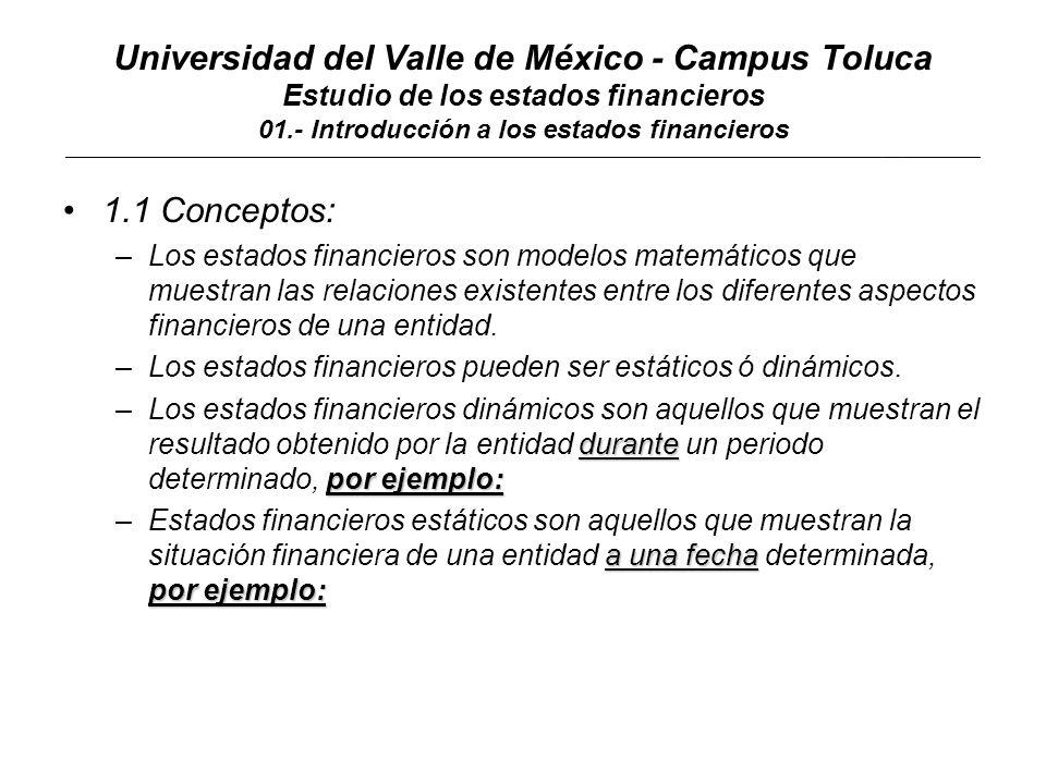 Universidad del Valle de México - Campus Toluca Estudio de los estados financieros 01.- Introducción a los estados financieros ____________________________________________________________________________________________________________________________________________ 1.1 Conceptos: –Los estados financieros pueden ser principales ó secundarios.