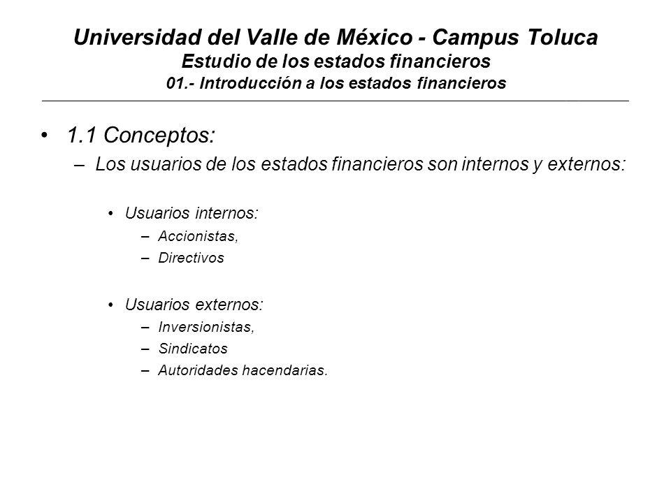 Universidad del Valle de México - Campus Toluca Estudio de los estados financieros 01.- Introducción a los estados financieros ____________________________________________________________________________________________________________________________________________ 1.1 Conceptos: Estado de resultados Por el periodo comprendido del 01 de enero al 31 de diciembre del 200X Ingresos10,000 - Costo de ventas 4,500 = Utilidad bruta 5,500 - Gastos de operación 2,000 = EBITDA 3,500 - Costo integral de financiamiento 750 = EBIT 2,750