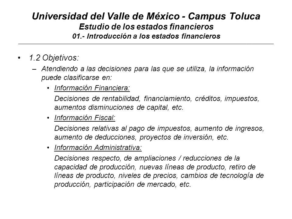 Universidad del Valle de México - Campus Toluca Estudio de los estados financieros 01.- Introducción a los estados financieros ____________________________________________________________________________________________________________________________________________ 1.3 Limitaciones: –La información contenida en los estados financieros tiene limitaciones en función de: a.No apegarse a la normatividad relativa.