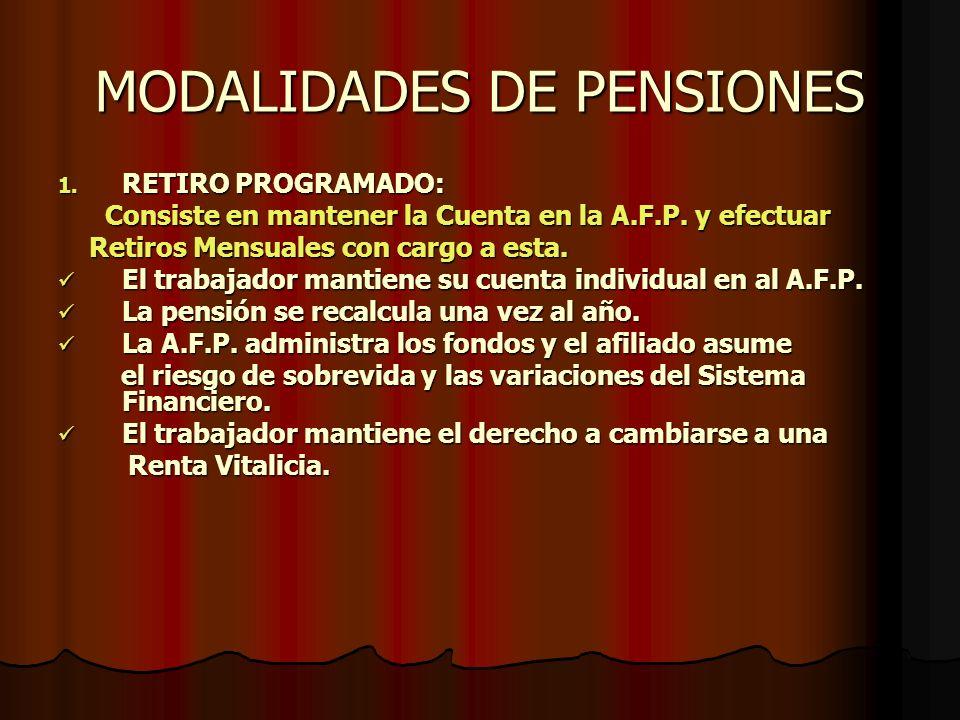 MODALIDADES DE PENSIONES 1. R ETIRO PROGRAMADO: Consiste en mantener la Cuenta en la A.F.P. y efectuar Retiros Mensuales con cargo a esta. El trabajad