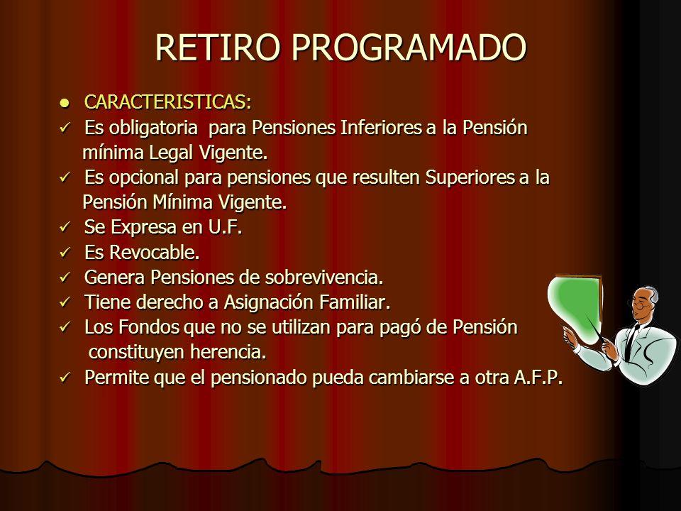 RETIRO PROGRAMADO CARACTERISTICAS: Es obligatoria para Pensiones Inferiores a la Pensión mínima Legal Vigente. Es opcional para pensiones que resulten