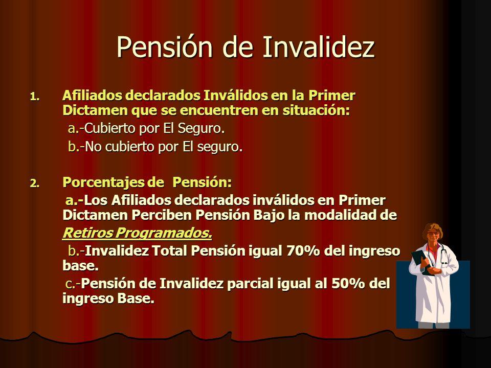 Pensión de Invalidez 1. A filiados declarados Inválidos en la Primer Dictamen que se encuentren en situación: a.-Cubierto por El Seguro. b.-No cubiert