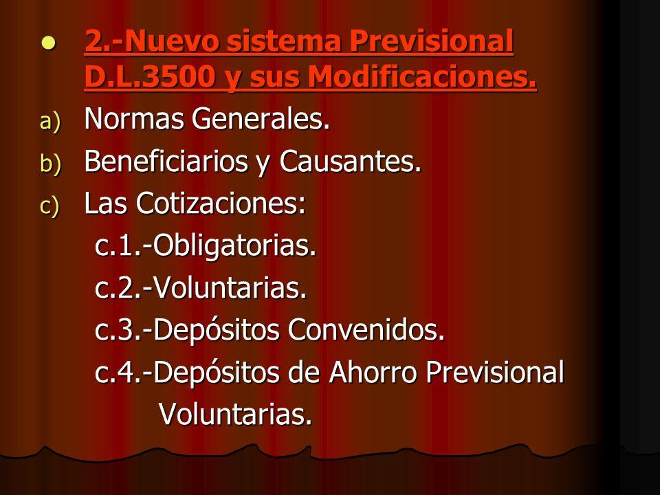 2.-Nuevo sistema Previsional D.L.3500 y sus Modificaciones. a) N ormas Generales. b) B eneficiarios y Causantes. c) L as Cotizaciones: c.1.-Obligatori