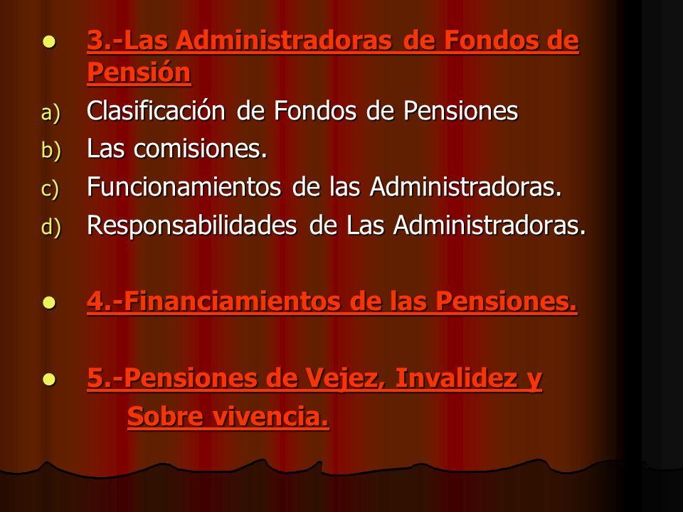 3.-Las Administradoras de Fondos de Pensión a) C lasificación de Fondos de Pensiones b) L as comisiones. c) F uncionamientos de las Administradoras. d