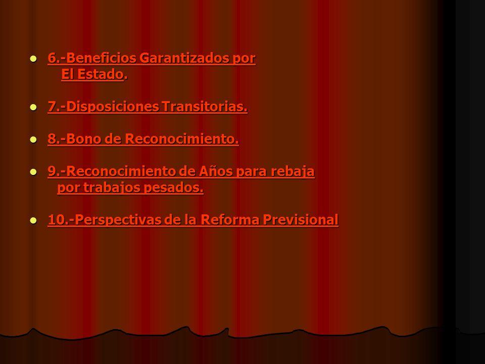 6.-Beneficios Garantizados por El Estado. 7.-Disposiciones Transitorias. 8.-Bono de Reconocimiento. 9.-Reconocimiento de Años para rebaja por trabajos