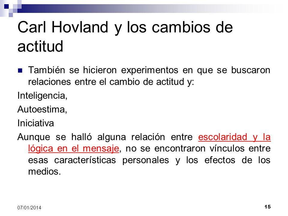 15 07/01/2014 Carl Hovland y los cambios de actitud También se hicieron experimentos en que se buscaron relaciones entre el cambio de actitud y: Intel