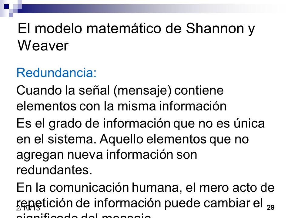 29 2/10/13 El modelo matemático de Shannon y Weaver Redundancia: Cuando la señal (mensaje) contiene elementos con la misma información Es el grado de