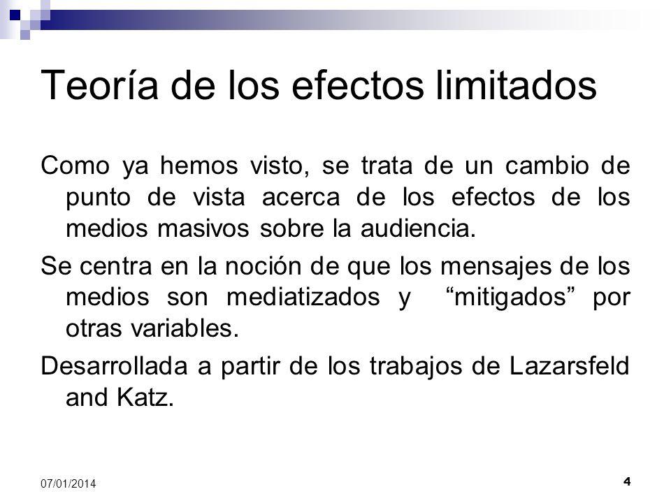 5 07/01/2014 Postulados de la Teoría de los efectos limitados 1.