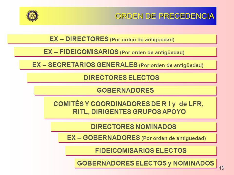 10 ORDEN DE PRECEDENCIA EX – DIRECTORES (Por orden de antigüedad) EX – FIDEICOMISARIOS (Por orden de antigüedad) EX – SECRETARIOS GENERALES (Por orden