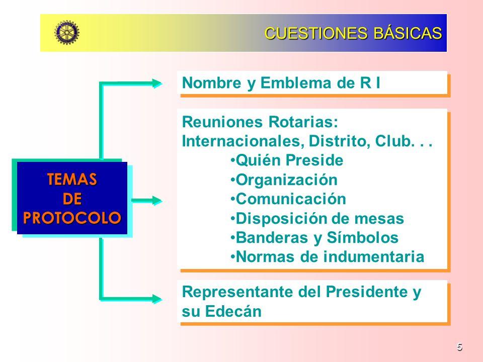 5 PROTOCOLO ROTARIO CUESTIONES BÁSICAS TEMASDEPROTOCOLO Nombre y Emblema de R I Reuniones Rotarias: Internacionales, Distrito, Club... Quién Preside O