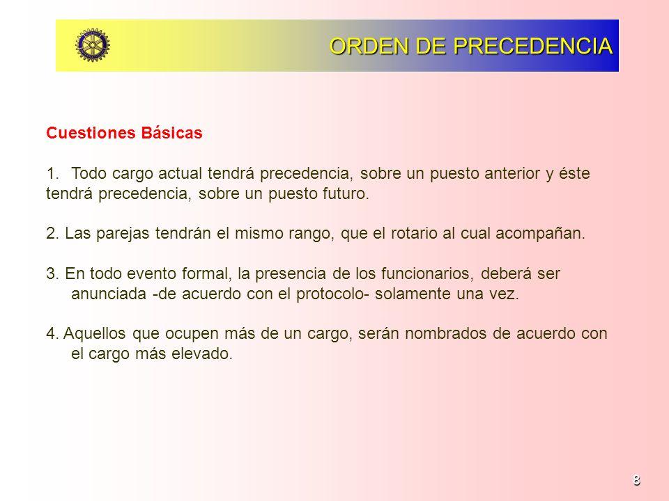 8 ORDEN DE PRECEDENCIA Cuestiones Básicas 1.Todo cargo actual tendrá precedencia, sobre un puesto anterior y éste tendrá precedencia, sobre un puesto