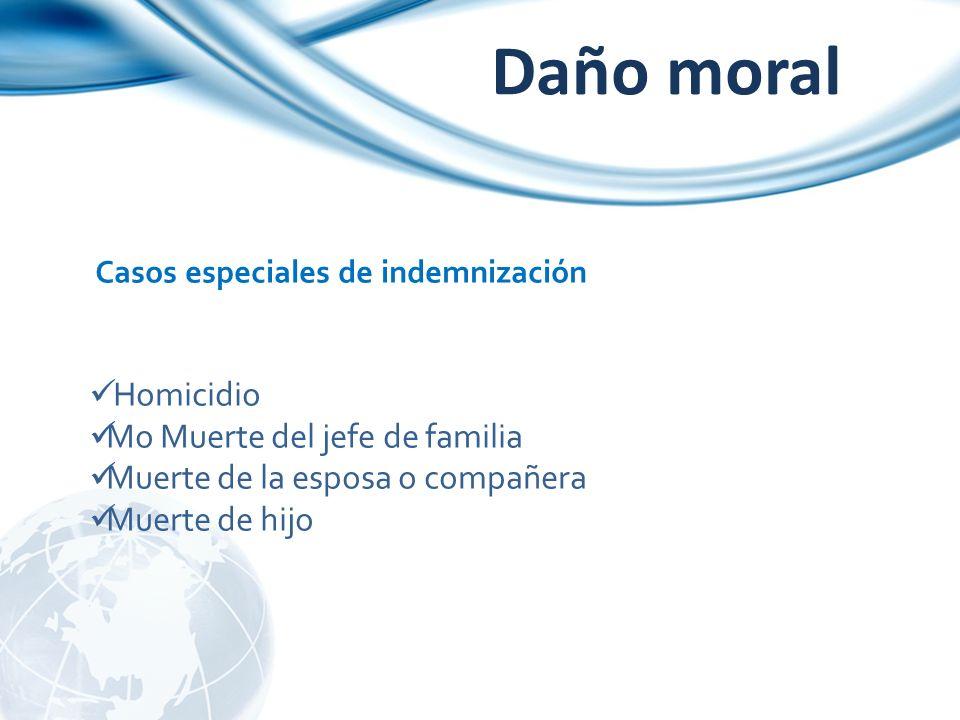 Daño moral Casos especiales de indemnización Homicidio Mo Muerte del jefe de familia Muerte de la esposa o compañera Muerte de hijo