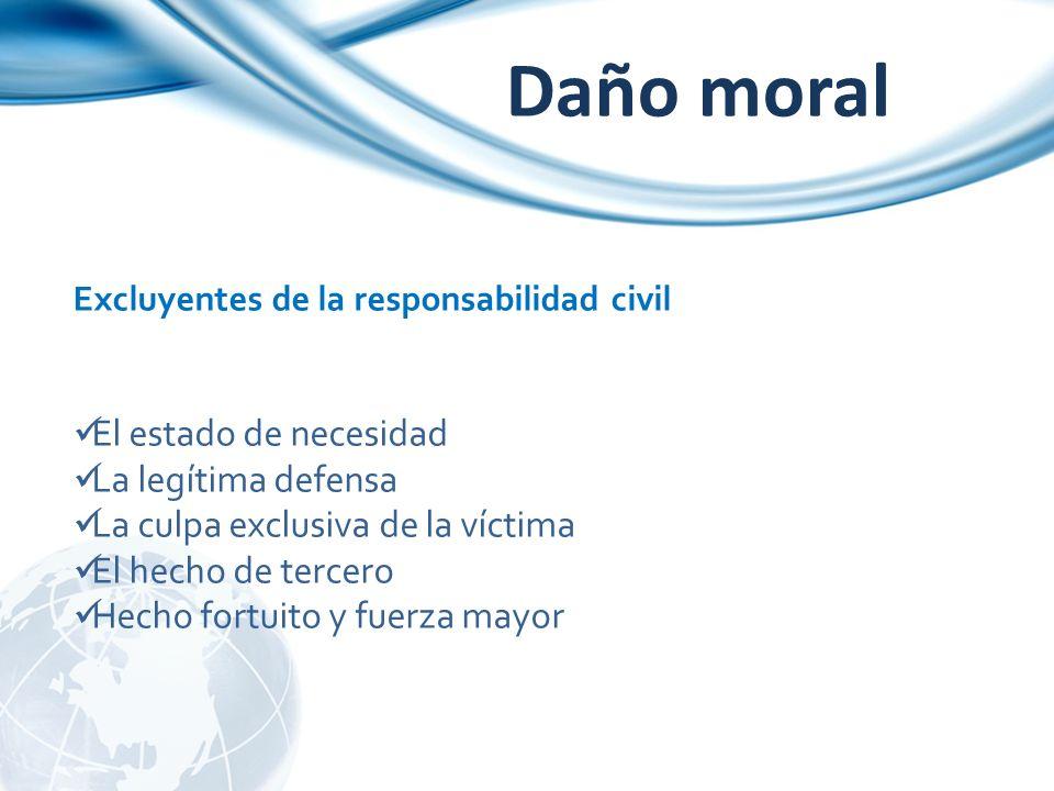 Daño moral Excluyentes de la responsabilidad civil El estado de necesidad La legítima defensa La culpa exclusiva de la víctima El hecho de tercero Hec