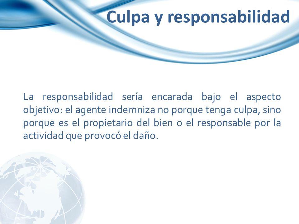 La responsabilidad sería encarada bajo el aspecto objetivo: el agente indemniza no porque tenga culpa, sino porque es el propietario del bien o el res