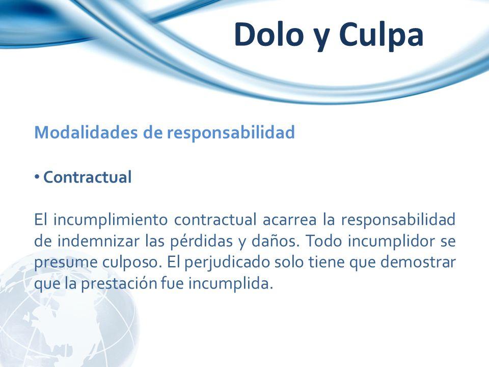 Modalidades de responsabilidad Contractual El incumplimiento contractual acarrea la responsabilidad de indemnizar las pérdidas y daños. Todo incumplid