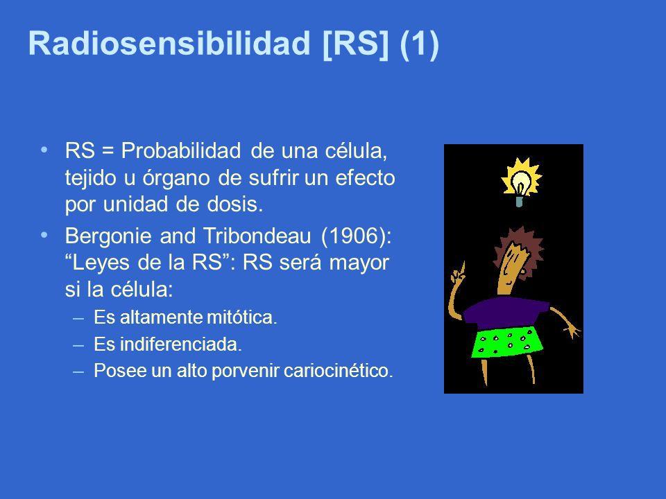Radiosensibilidad [RS] (1) RS = Probabilidad de una célula, tejido u órgano de sufrir un efecto por unidad de dosis. Bergonie and Tribondeau (1906): L