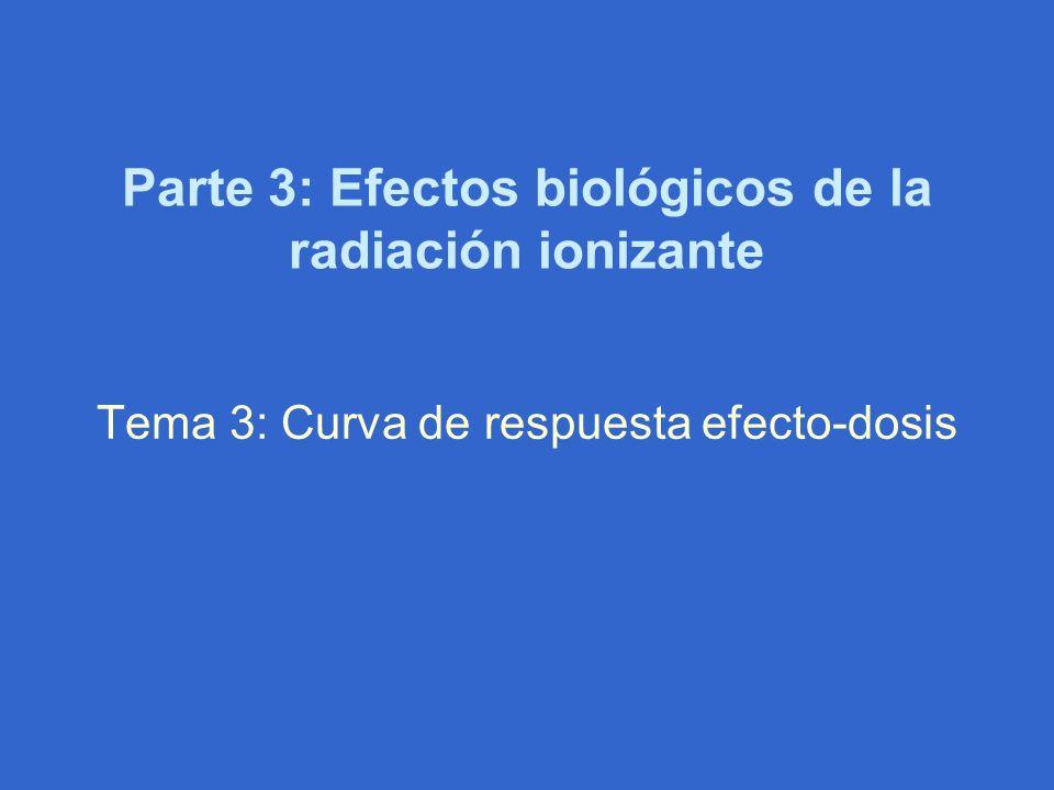 Parte 3: Efectos biológicos de la radiación ionizante Tema 3: Curva de respuesta efecto-dosis