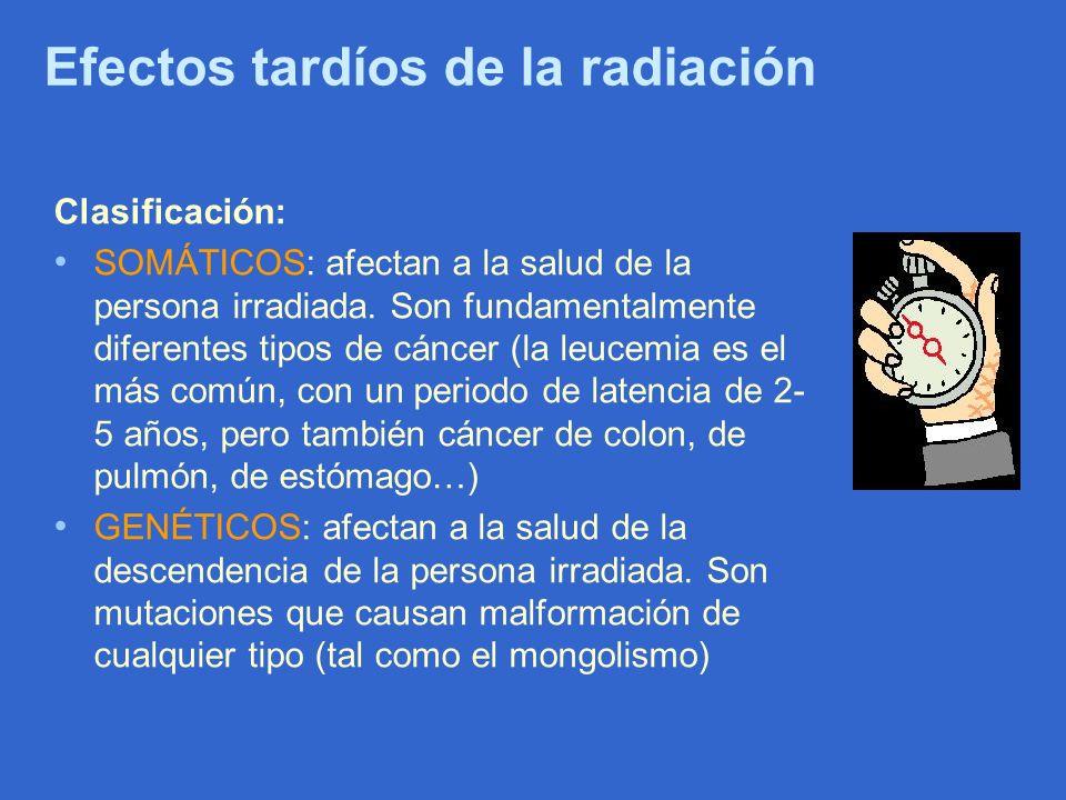 Efectos tardíos de la radiación Clasificación: SOMÁTICOS: afectan a la salud de la persona irradiada. Son fundamentalmente diferentes tipos de cáncer