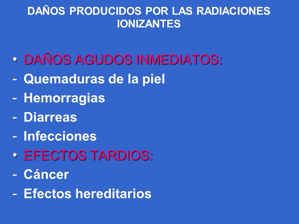 DAÑOS PRODUCIDOS POR LAS RADIACIONES IONIZANTES DAÑOS AGUDOS INMEDIATOS: DAÑOS AGUDOS INMEDIATOS: - Quemaduras de la piel - Hemorragias - Diarreas - I